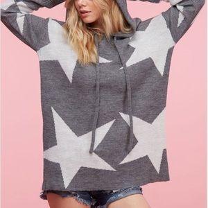 Oversized Knit sweater Slouchy hoodie w stars